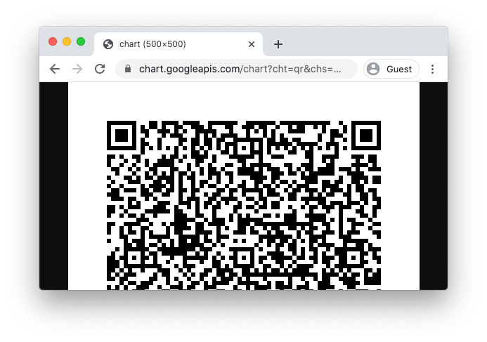 A web browser displaying half of a QR code